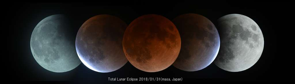Photo composite de l'éclipse totale de la Lune vue du Japon. © Masa Nakamura, Spaceweather