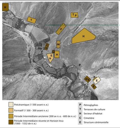 Figure 14 : Checta, emplacements des divers témoins d'occupation précolombienne. © Reproduction et utilisation interdites