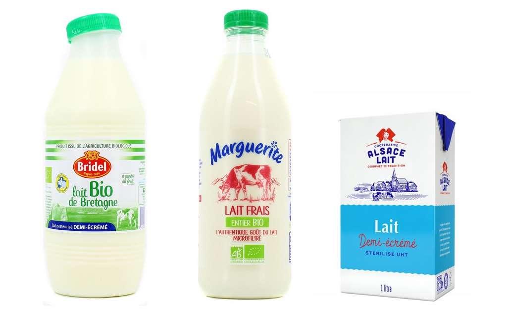 Le lait frais vendu en grande surface est pasteurisé ou microfiltré. Le lait UHT, non réfrigéré, a subi une stérilisation à haute température durant quelques secondes. © Houra.fr