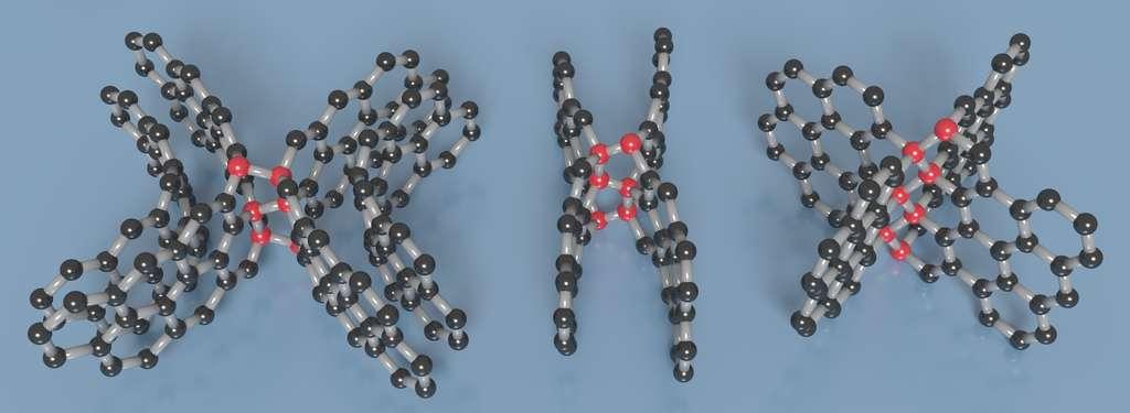 Comprimé, le carbone vitreux s'arrange pour présenter des liaisons type diamant (en rouge) qui unissent des feuilles de graphène (en noir) courbées, bouclées ou réticulées. © Timothy Strobel, université de Carnegie