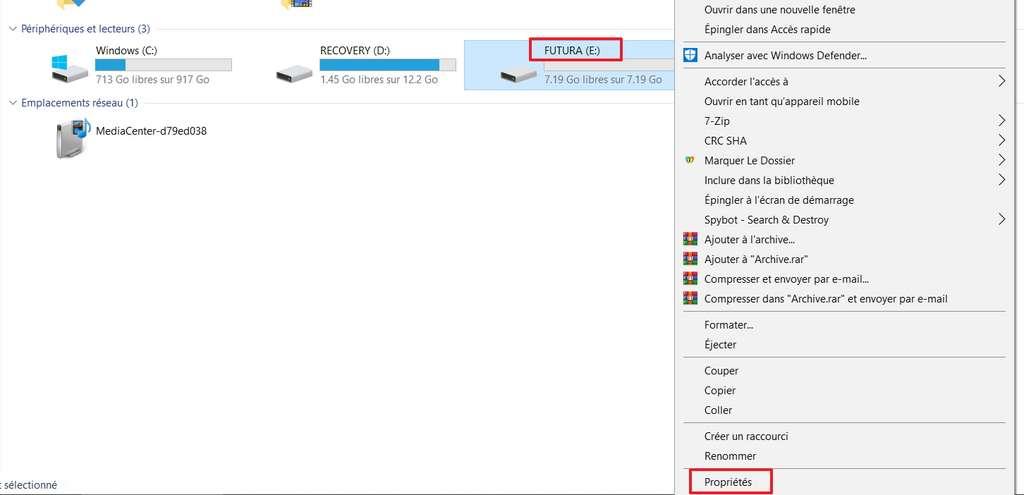 Allez dans les propriétés de votre clé USB. © Microsoft