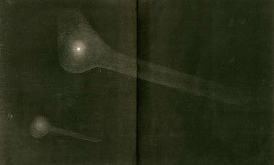 Dessinés par Otto Struve, les fragments de la comète de Biela lors de son passage de 1846. © Université de Cambridge, Institut d'astronomie