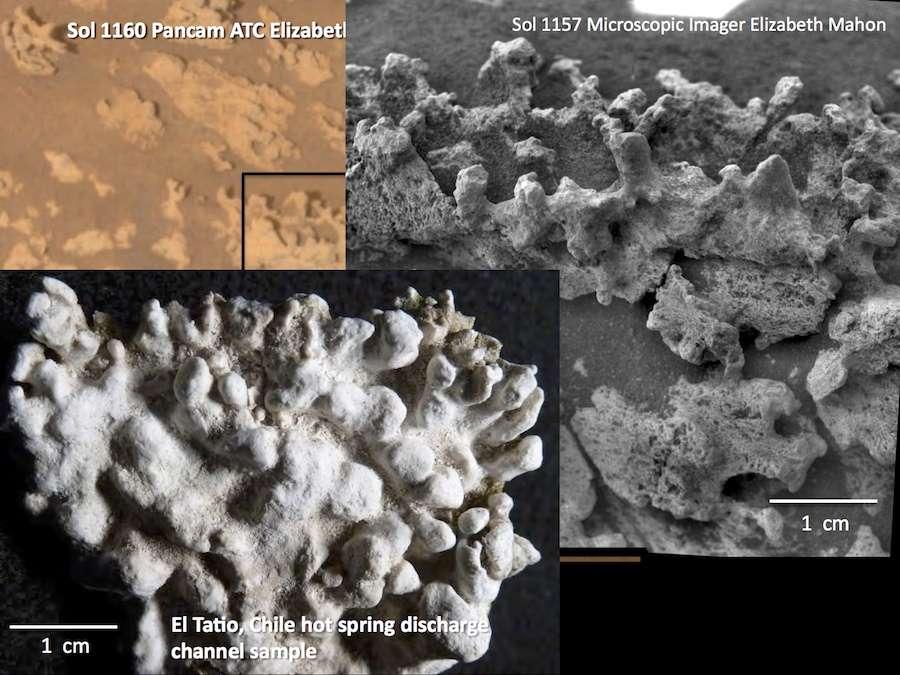 Comparaison des structures de silice observées sur Mars par Spirit avec celles, en bas à gauche, trouvées dans le désert de l'Atacama, sur le site d'El Tatio. © Nasa, JPL-Caltech, School of Earth and Space Exploration, Arizona State University, Elizabeth Mahon
