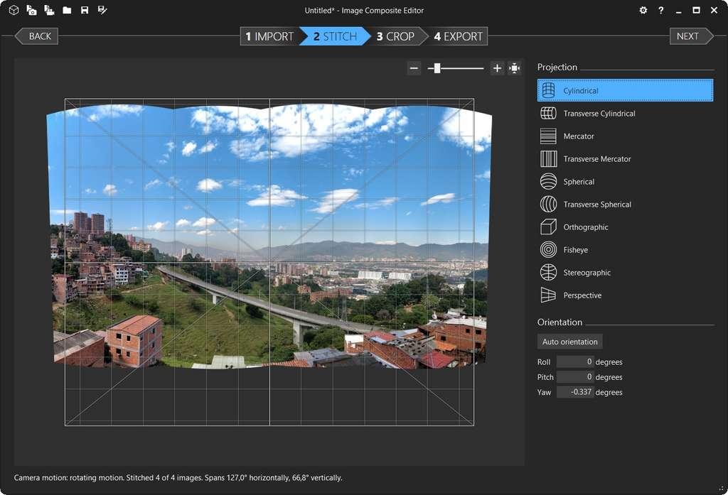 Affichage d'un premier rendu du panorama. © Image Composite Editor
