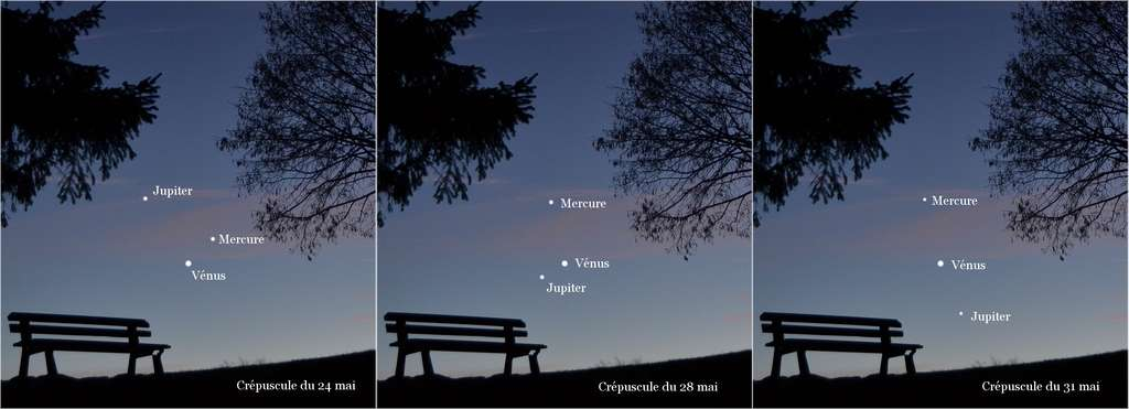 Ce montage permet de visualiser les différentes étapes du ballet planétaire qui réunira Vénus, Jupiter et Mercure dans les derniers jours du mois de mai. Un spectacle à suivre après le coucher du Soleil, au-dessus de l'horizon ouest-nord-ouest. © Jean-Baptiste Feldmann