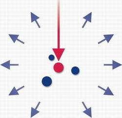 En rouge et en bleu les atomes pour faire fonctionner un laser namométrique (Crédit Tom Savels).