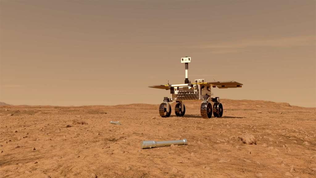 Vue d'artiste du Fetch rover de la mission de retour d'échantillons martiens de la Nasa et de l'ESA. Ce rover, réalisé par Airbus, aura pour unique tâche la récupération des échantillons de la Planète rouge collectés par Perseverance qui les aura logés dans des petits tubes en métal et déposés sur la surface de Mars. © Nasa, JPL