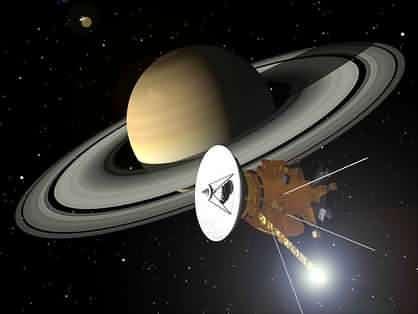La sonde Cassini-Huygens autour de Saturne (crédit : NASA/JPL)