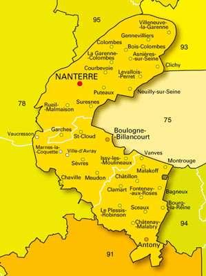 Carte des Hauts-de-Seine. © DR