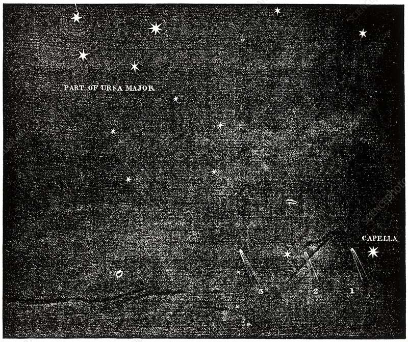 Observation de la « grande comète de 1844 » par Sir James South, les nuits du 8, 9 et 11 juin 1844 à Kensington. L'astre était alors visible près de Capella, l'étoile la plus brillante du Cocher. © Royal Astronomical Society, Science Photo Library