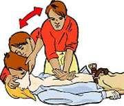 Pratiquez le bouche-à-bouche toutes les cinq compressions thoraciques. © Croix-Rouge française, G. Pascaud