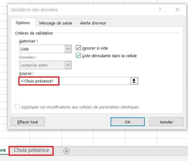 Effectuez un simple clic dans le champ vide, puis cliquez sur l'onglet de la deuxième feuille. © Microsoft