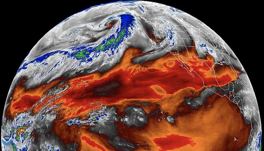 Sur cette image de la Nasa, les concentrations en vapeur d'eau tropicale étudiées par les chercheurs du Lawrence Livermore National Laboratory (LLNL, États-Unis). © Nasa