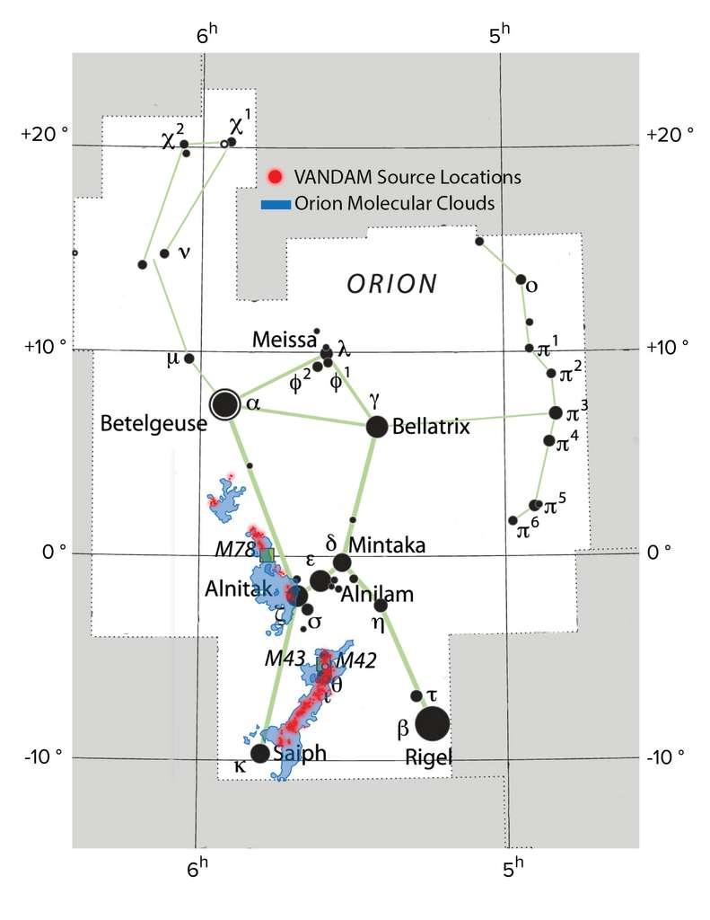 Les nuages moléculaires d'Orion (bleu, comme on le voit avec les images prises par la mission Herschel) sont situés dans la constellation d'Orion. Les points rouges indiquent les emplacements des proto-étoiles observées dans le relevé Vandam. © IAU ; Sky & Telescope magazine ; NRAO/AUI/NSF, S. Dagnello ; Herschel/ESA ; Alma (ESO/NAOJ/NRAO), J. Tobin
