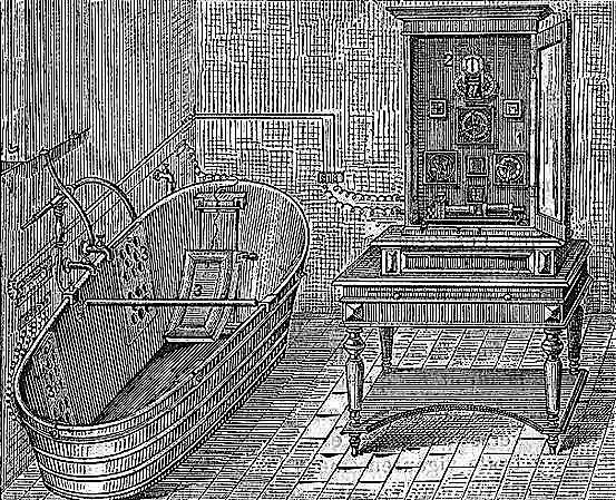 Si la paternité du spa revient incontestablement à Roy Jacuzzi, on lui connaît tout de même un ancêtre : le bain chauffant électrique utilisé, à la charnière des XIXe et XXe siècles, par l'institut naturopathe allemand Bilz pour ses traitements de médication et d'hygiène. Une installation peu rassurante en regard des normes de sécurité actuelles. © La nouvelle médication naturelle de Friedrich Eduard Bilz (vers 1900)