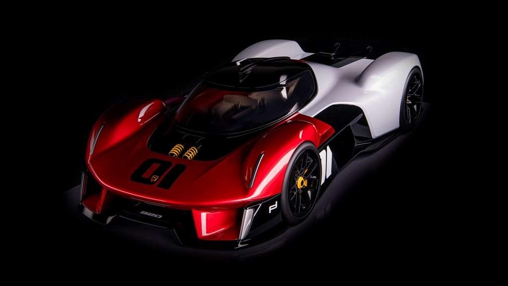 Pour ce concept-car né en 2019, Porsche explique avoir voulu brouiller les lignes entre le prototype de course et la voiture de série à cockpit central. © Porsche
