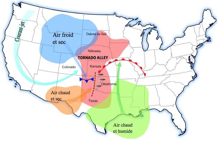 C'est dans la Tornado Alley que se produisent généralement les tornades les plus violentes du monde. © Pierre cb, Wikipedia, Domaine public