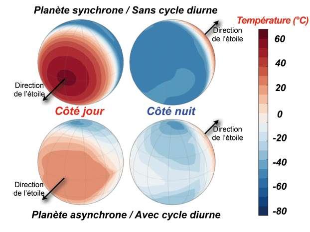 Représentation donnant un exemple des écarts de température à la surface d'une planète dans les cas synchrone et asynchrone. © Jérémy Leconte