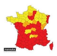 2020年法国老虎蚊子的地图。用红色表示,老虎蚊子已正式植入并活跃。在过去的5年中,以橙色表示一次拦截。黄色,昆虫学监视。 ©蚊子警惕