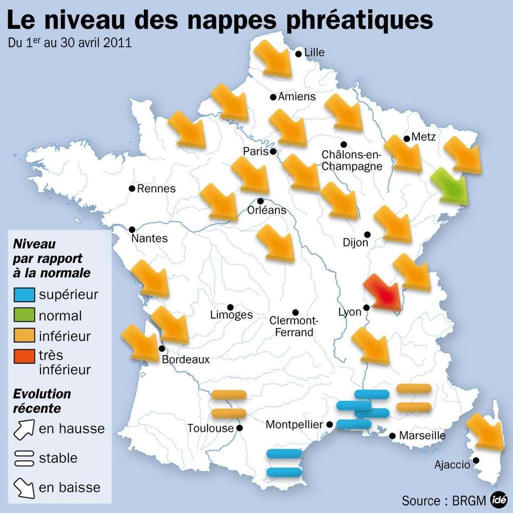 Carte du niveau des nappes phréatiques en France. © idé