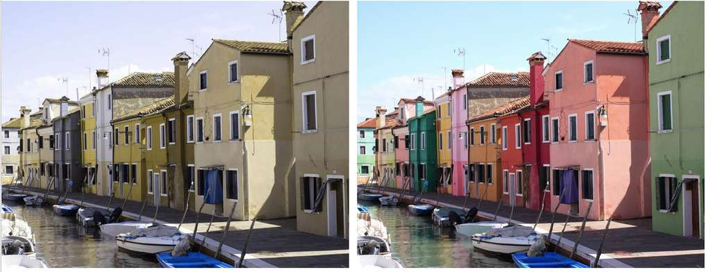 Voici, à gauche, comment les personnes qui souffrent de deutéranopie voient le monde. Plus d'exemple sur La vie en couleur. © Lenstore