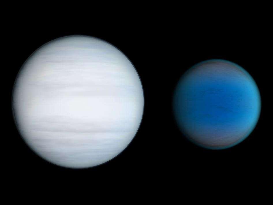 Sur cette image d'artiste se trouvent deux géantes gazeuses, Kepler 47c à gauche et Kepler 47b à droite. Si Kepler 47c était une planète rocheuse, elle serait une superterre peut-être porteuse de vie. © Nasa/JPL-Caltech/T. Pyle