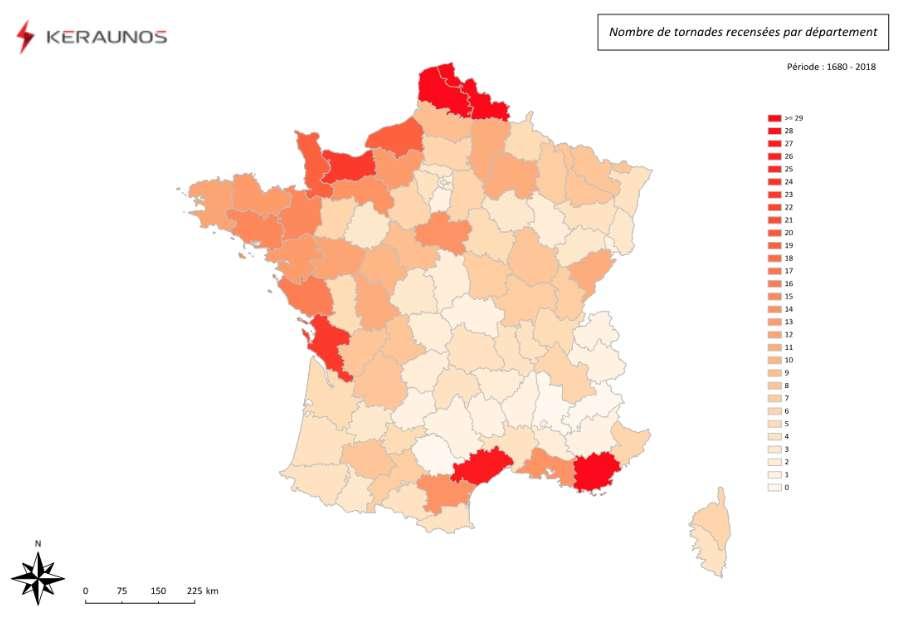 En France, concernant les tornades, on distingue des zones plus à risque que d'autres. © Keraunos