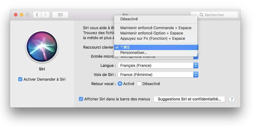 Siri dans les Préférences Système de macOS. © Futura