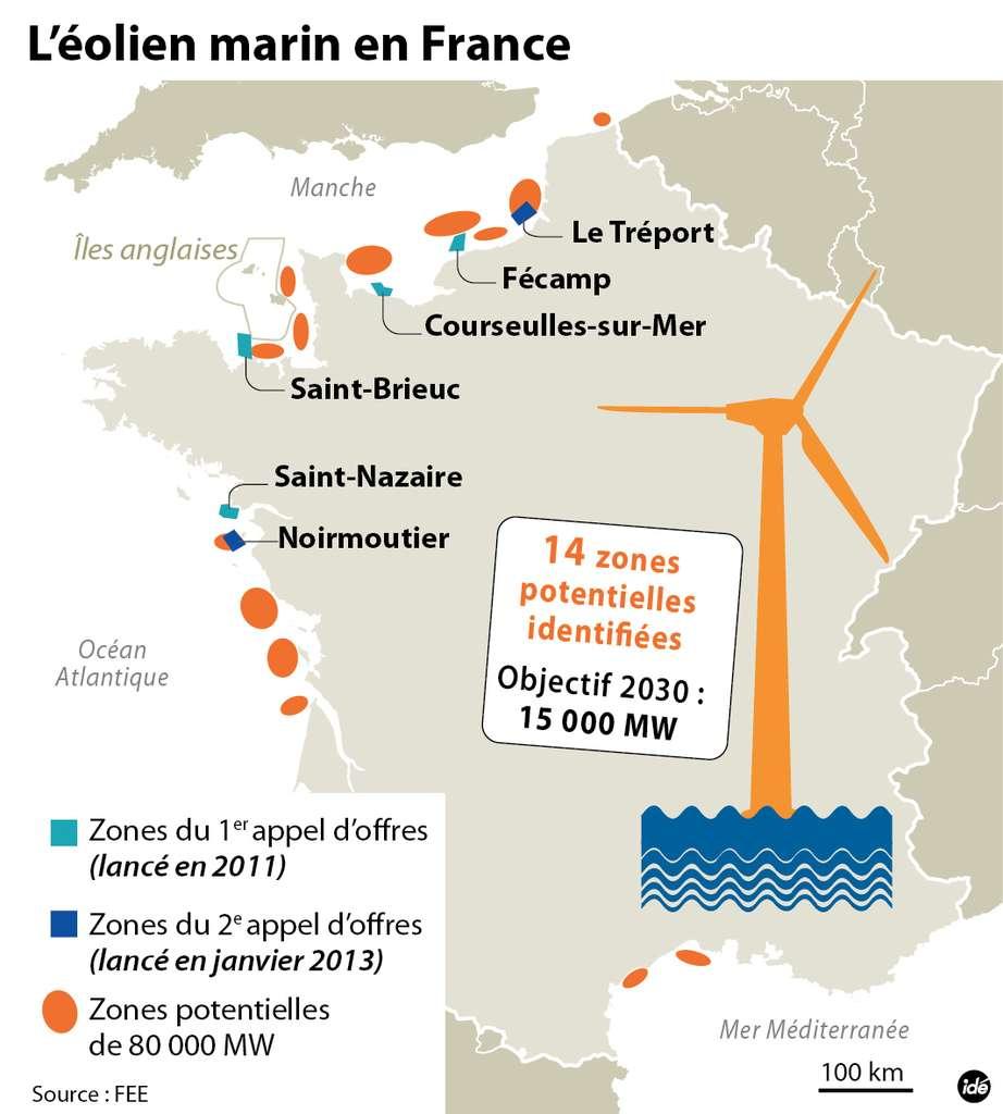 Présentation des potentielles zones maritimes qui accueilleront, ou qui pourraient prochainement accueillir des fermes éoliennes. © Idé