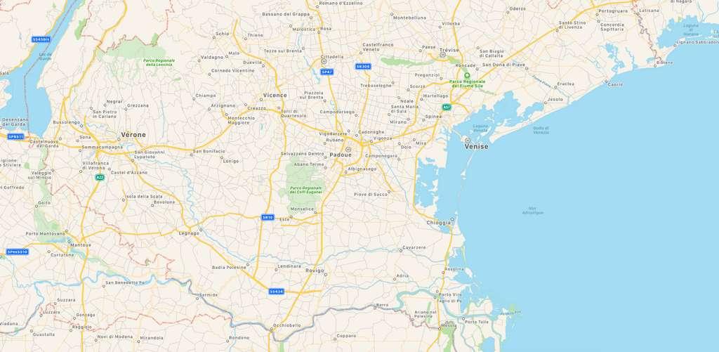 La région de Padoue, au nord-est de la Vénétie en Italie, fait partie des quatre endroits les plus pollués au monde par les PFC. © Plans/Apple