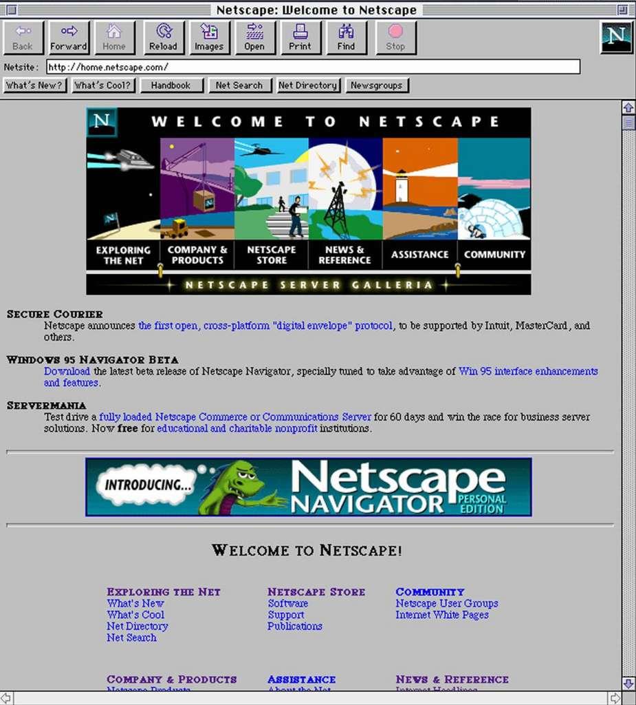 À l'époque de Windows 95, on découvre Internet grâce à Netscape, la référence des navigateurs. © blog.mozfr.org