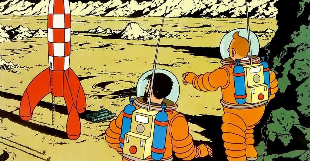La célèbre BD « On a marché sur le Lune ». © Hergé/Casterman, DR