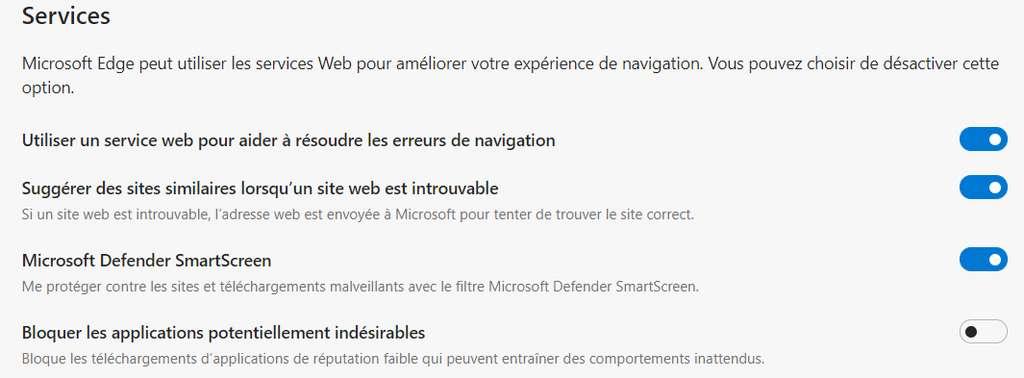 """En fouillant dans les options du navigateur Microsoft Edge, on découvre l'option pour bloquer les téléchargements d'applications """"potentiellement indésirables"""" © Futura"""