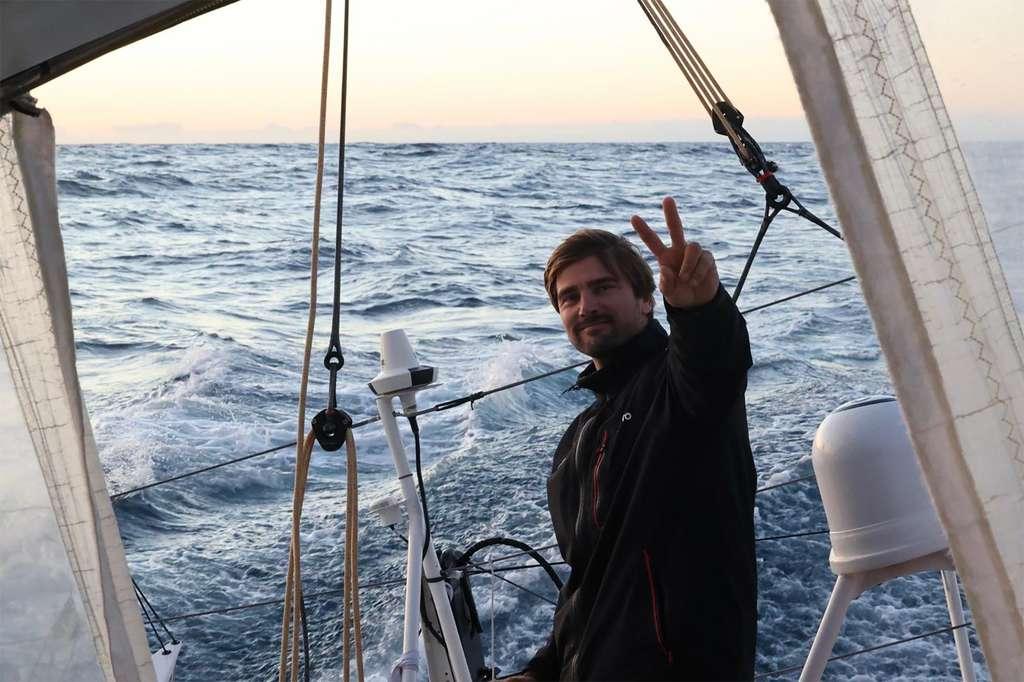 Le skipper allemand Boris Herman dont l'arrivée aux Sables d'Olonne n'est pas attendue avant la fin du mois de janvier. © Boris Herman