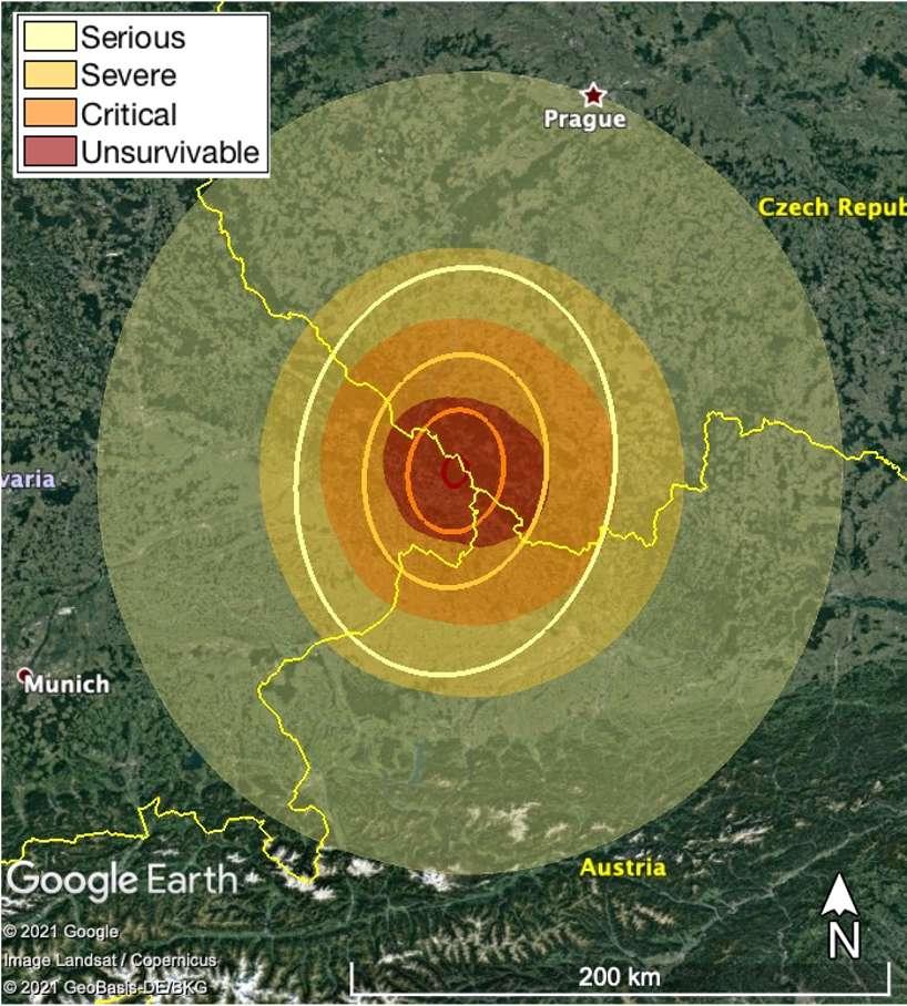 Selon le scénario d'impact développé lors de la dernière Planetary Defense Conference, voici l'étendue des conséquences au sol de la collision de l'astéroïde PDC 2021 avec la Terre. © Nasa