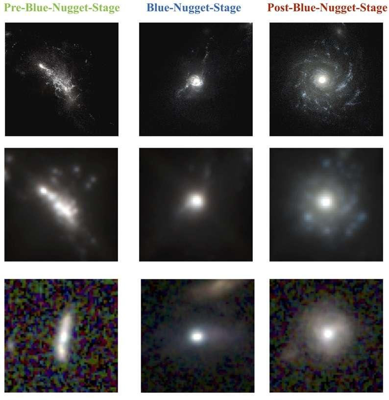 Un réseau neuronal a appris à identifier trois stades clés de la formation des galaxies : pré-blue nugget, blue nugget et post-blue nugget. La rangée du haut correspond aux images haute définition de galaxies générées par les simulations informatiques Vela. Sur la rangée du milieu, ces mêmes images ont été altérées pour donner aux fausses galaxies l'apparence qu'elles auraient eue si elles avaient été observées par le télescope spatial Hubble. Sur la rangée du bas figurent de véritables galaxies observées par Hubble. La largeur des images correspond à environ 100.000 années-lumière. © Greg Snyder, Marc Huertas-Company, Candels