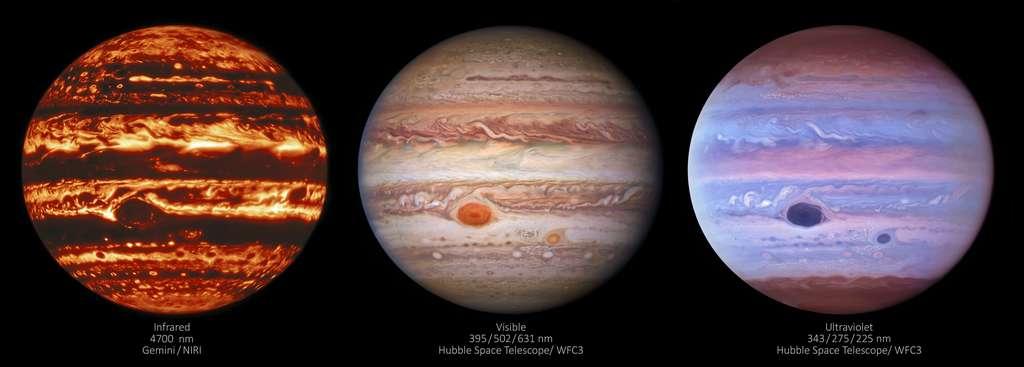 Trois images de Jupiter (en fausses couleurs) montrent la géante gazeuse dans trois types de lumière différents : infrarouge, visible et ultraviolet. L'image de gauche a été prise en infrarouge par l'instrument Niri (Near-InfraRed Imager) à Gemini North à Hawaï, la version dans l'hémisphère nord de l'Observatoire international Gemini. L'image centrale a été prise en lumière visible par le télescope spatial Hubble. L'image de droite a été prise en lumière ultraviolette et aussi par Hubble. Toutes les observations ont été faites le 11 janvier 2017. © International Gemini Observatory/NOIRLab/NSF/Aura/Nasa/ESA, M.H. Wong and I. de Pater (UC Berkeley) et al.