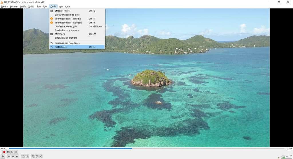 Ouverture des préférences, dans le menu «Outils». © VLC Media Player