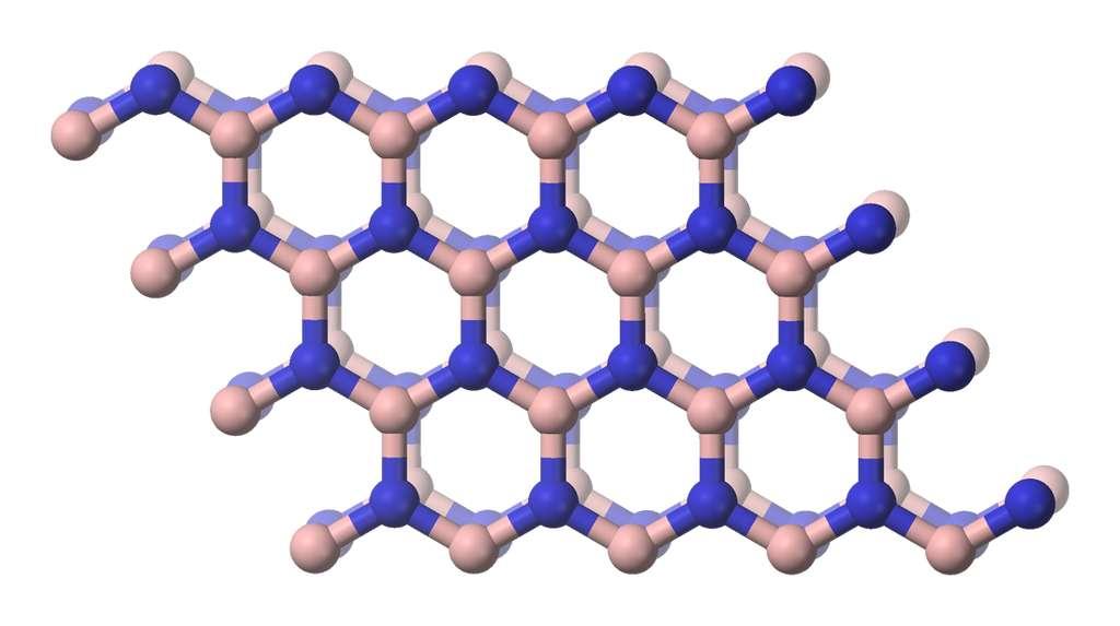 Le nitrure de bore peut prendre une structure ressemblant à celle du graphite. © Benjah-bmm27, Wikipedia, Domaine public