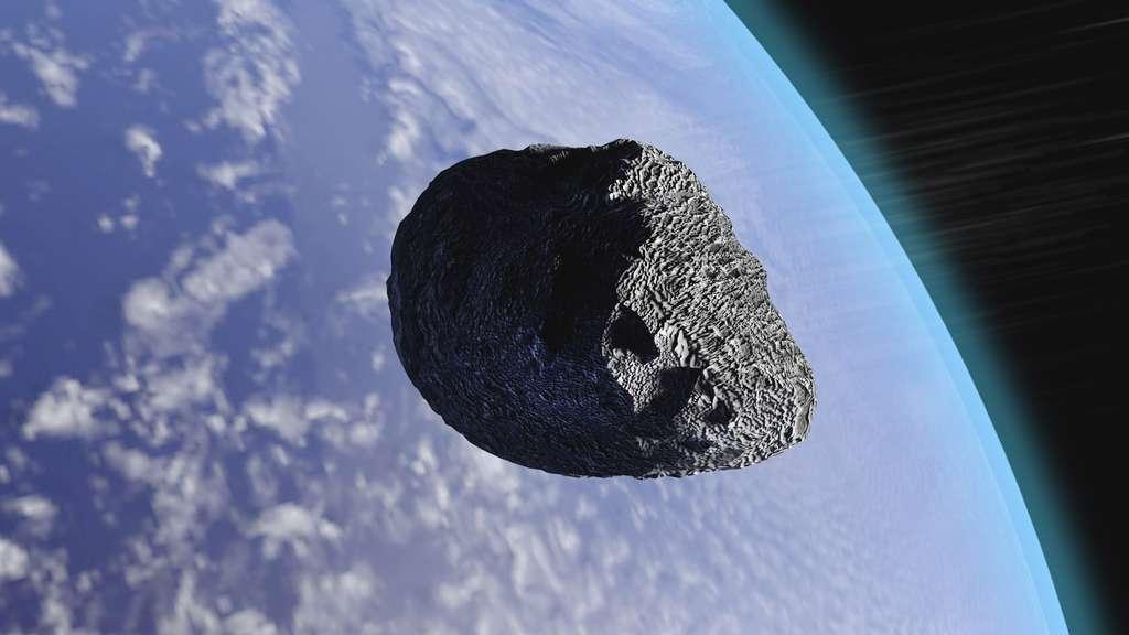 Vue d'artiste d'un astéroïde filant droit sur la Terre pour la percuter. © Auntspray, fotolia