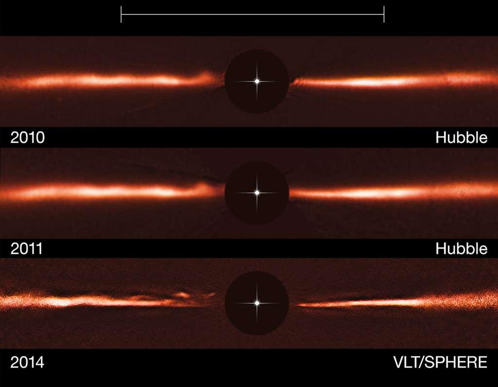 En haut, figure une image du disque de la très jeune étoile AU Microscopii acquise par Hubble en 2010. Au centre, une autre image prise cette fois en 2011 par le télescope spatial. En bas, les données de l'instrument Sphere, du VLT, recueillies en 2014. Le rond noir central indique la région où l'intensité de l'étoile a été atténuée afin de visualiser le disque de poussière, nettement moins lumineux. © Eso, Nasa, Esa