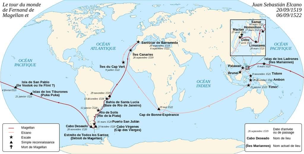 Cartographie du premier tour du monde par Magellan. © Sémhur, Wikimedia Commons, CC by-sa 3.0