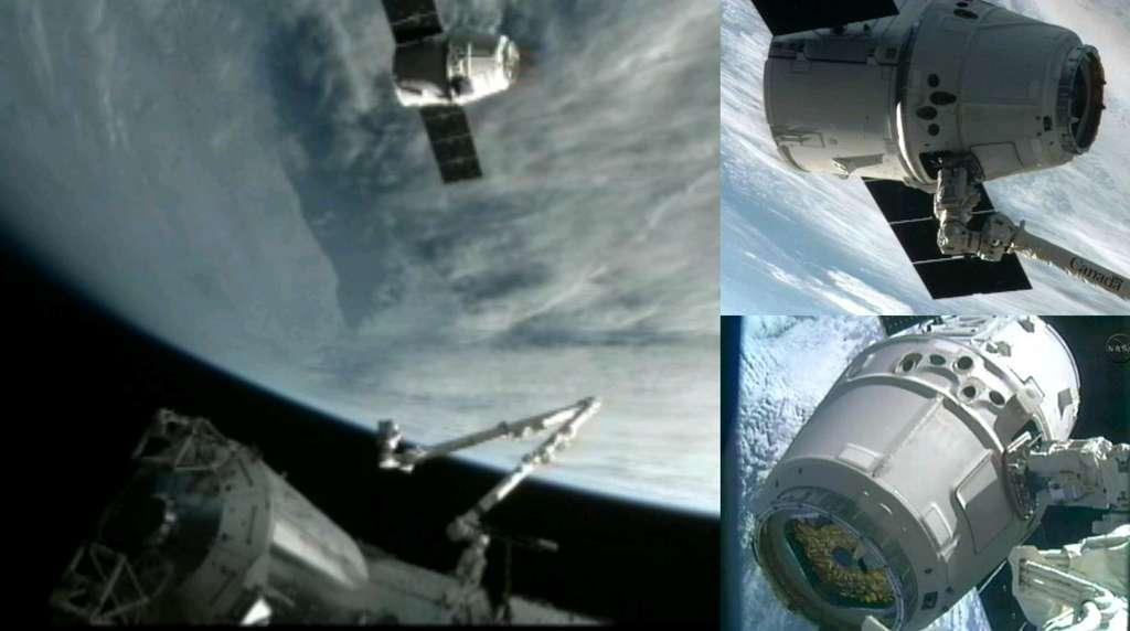 Dragon capturée par le bras robotique de la Station puis amarré au nœud de jonction Harmony. C'est l'astronaute de l'Agence spatiale européenne André Kuipers, de nationalité néerlandaise, qui pilotait le bras robotique. © Nasa TV