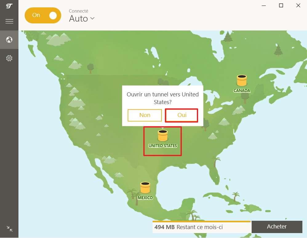 Déplacez librement le curseur sur le serveur du pays de votre choix. © TunnelBear