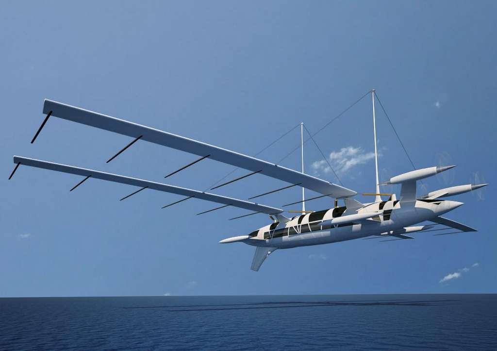 Concevoir un tel bateau volant fonctionnel serait sans doute un défi technique colossal. © Yelken Octuri