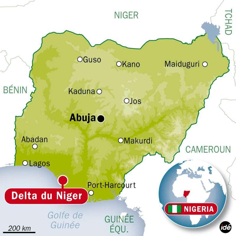 La marée noire s'est produite à environ 120 km des côtes nigérianes, au large du delta du Niger. © Idé