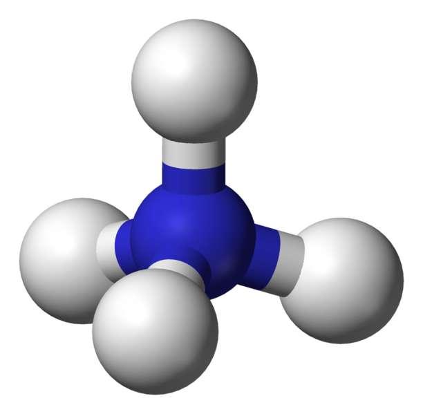L'ion ammonium comprend un atome d'azote et quatre d'hydrogène. © Wikimedia Commons, DP