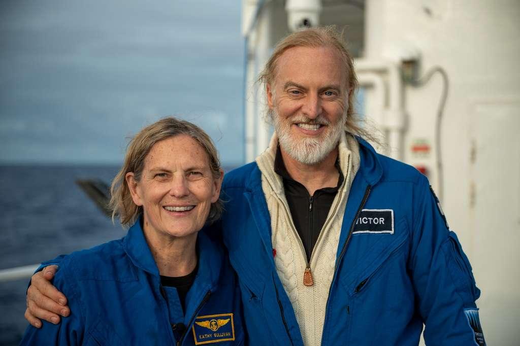 Kathy Sullivan et Victor Vescovo après leur plongée à Challenger Deep. © Enrique Alvarez