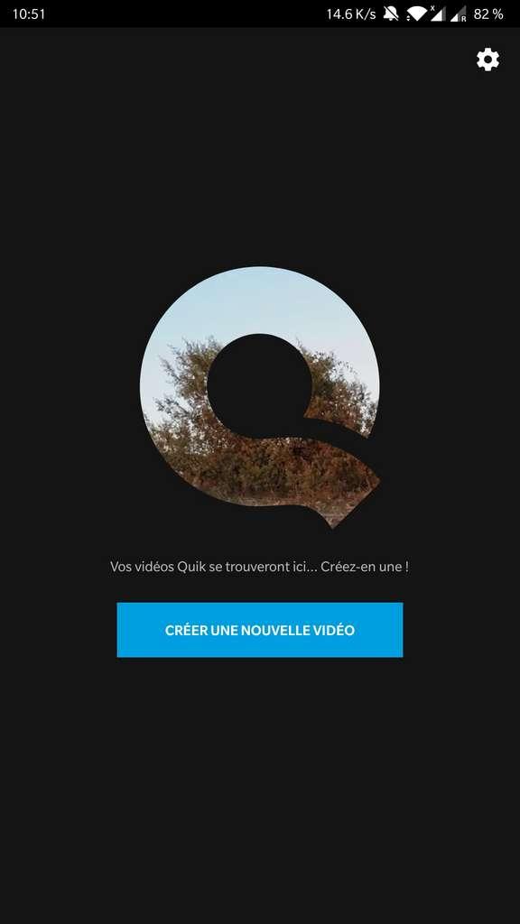 Page d'accueil de l'application Quik © GoPro, Inc.