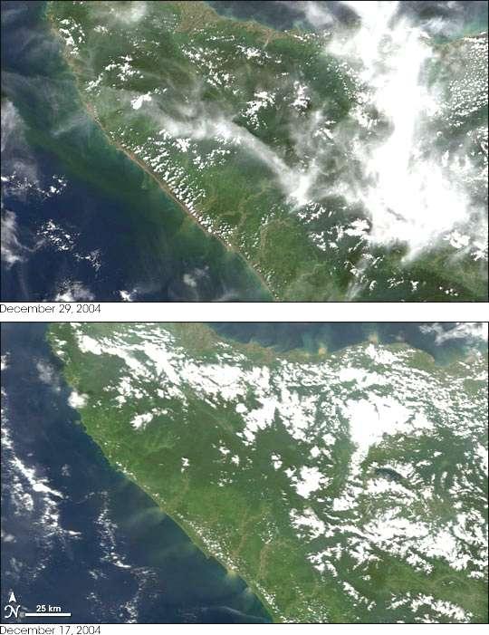 Nord Sumatra : image satellite des dégâts
